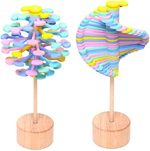 NEXTAKE Wooden Helicone Lollipop Stress Relif Toy Spinning Magic Wand Decompression Kit Fibonacci Sequence Toy (Macaron)