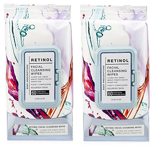 Body Prescriptions 2 Pack (60 Count Each) Retinol Facial Cleansing and Gentle Make Up Remover Wipes - Flip Top - Facial Cloths Cleansing