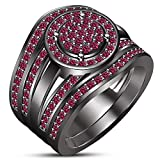 TVS-JEWELS Black Rhodium Plated Round Pink Sapphire Trio Wedding Bridal Ring Set For Women's (7.25)