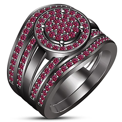 TVS-JEWELS Black Rhodium Plated Round Pink Sapphire Trio Wedding Bridal Ring Set For Women's (7.25) by TVS-JEWELS