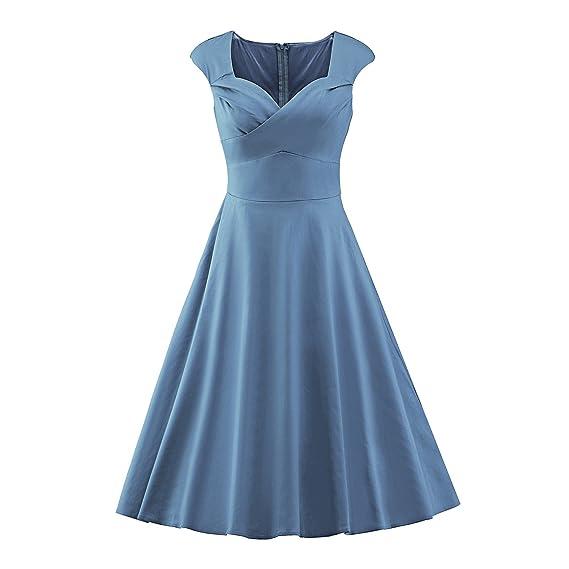 VB Las mujeres Falda collar cuadrado grande de color sólido sin mangas de péndulo: Amazon.es: Ropa y accesorios