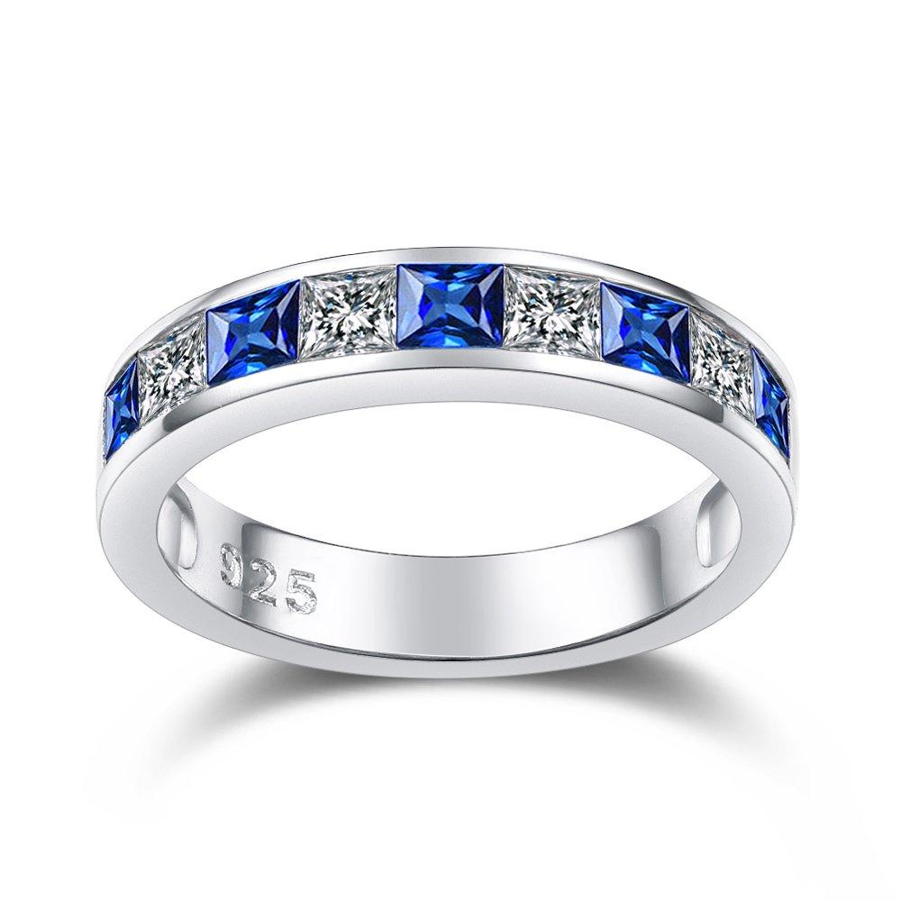 Alliance en argent sterling 925 - Saphir bleu - Pour femme - Bague en or blanc