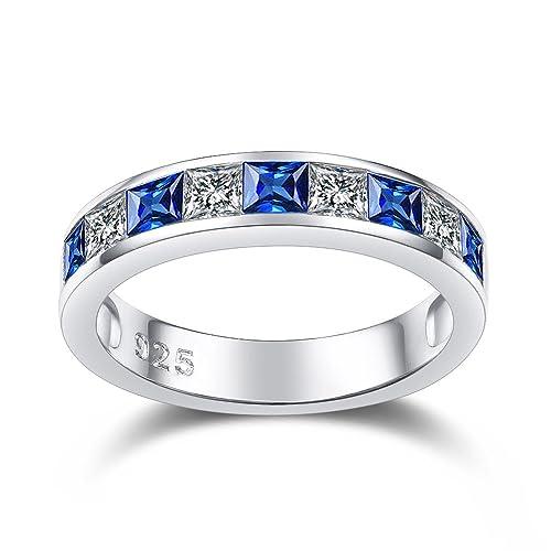 Anillo de plata de ley 925 con zafiro azul para mujer, anillo de eternidad en oro blanco