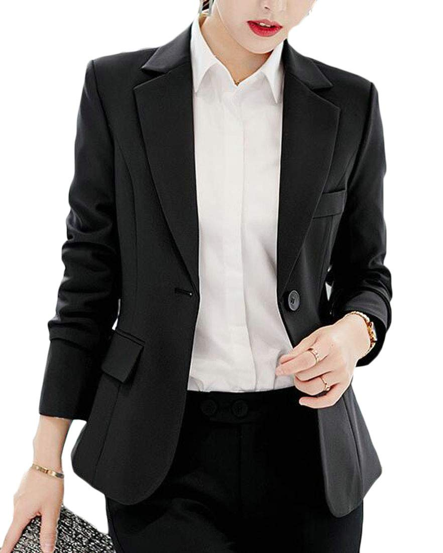 Domple Women's Autumn One Button Lapel OL Work Solid Slim Blazer Jacket Black US XS