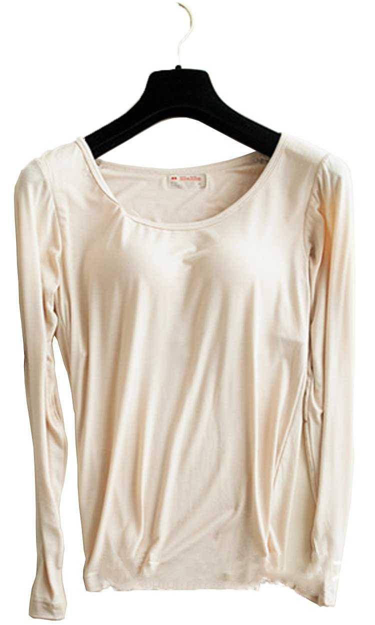 Womens Long Sleeve Padded Modal T-Shirts Built-in-Bra Crow Neck Yoga Base Layer