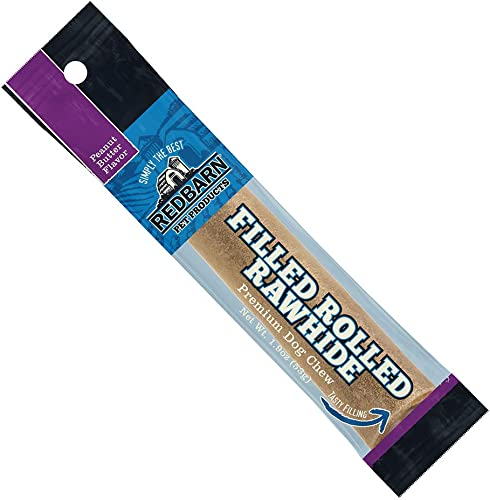 Redbarn Filled Rolled Rawhide-Peanut Butter Premium Dog Treats 6-Count