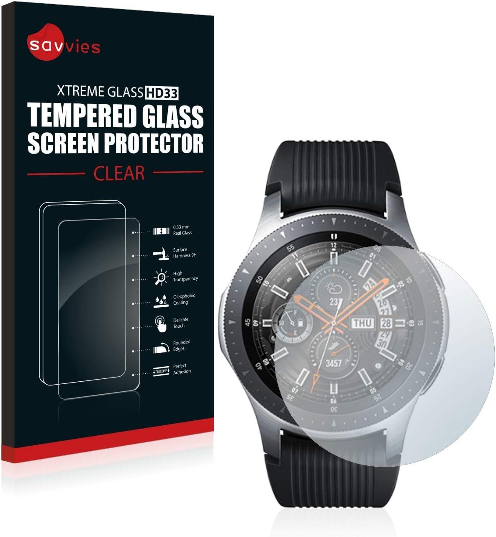 savvies Cristal Templado Compatible con Samsung Galaxy Watch (46 ...