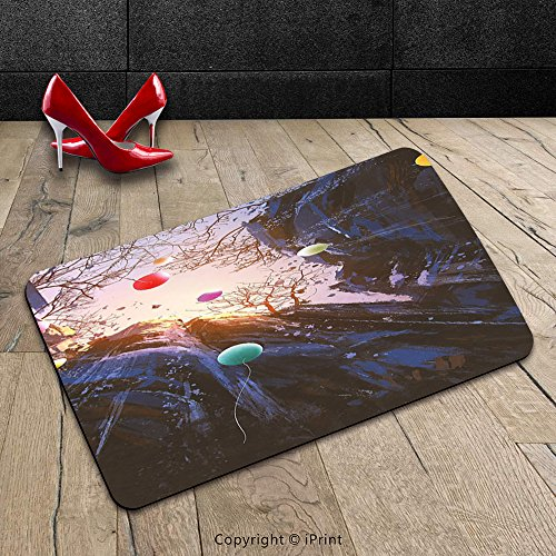 Custom Machine-washable Door Mat Fantasy Art House Decor Colorful Balloons in the Sky Surrounded by Cliffs Cave High Peaks Purple Pink Indoor/Outdoor Doormat Mat Rug Carpet