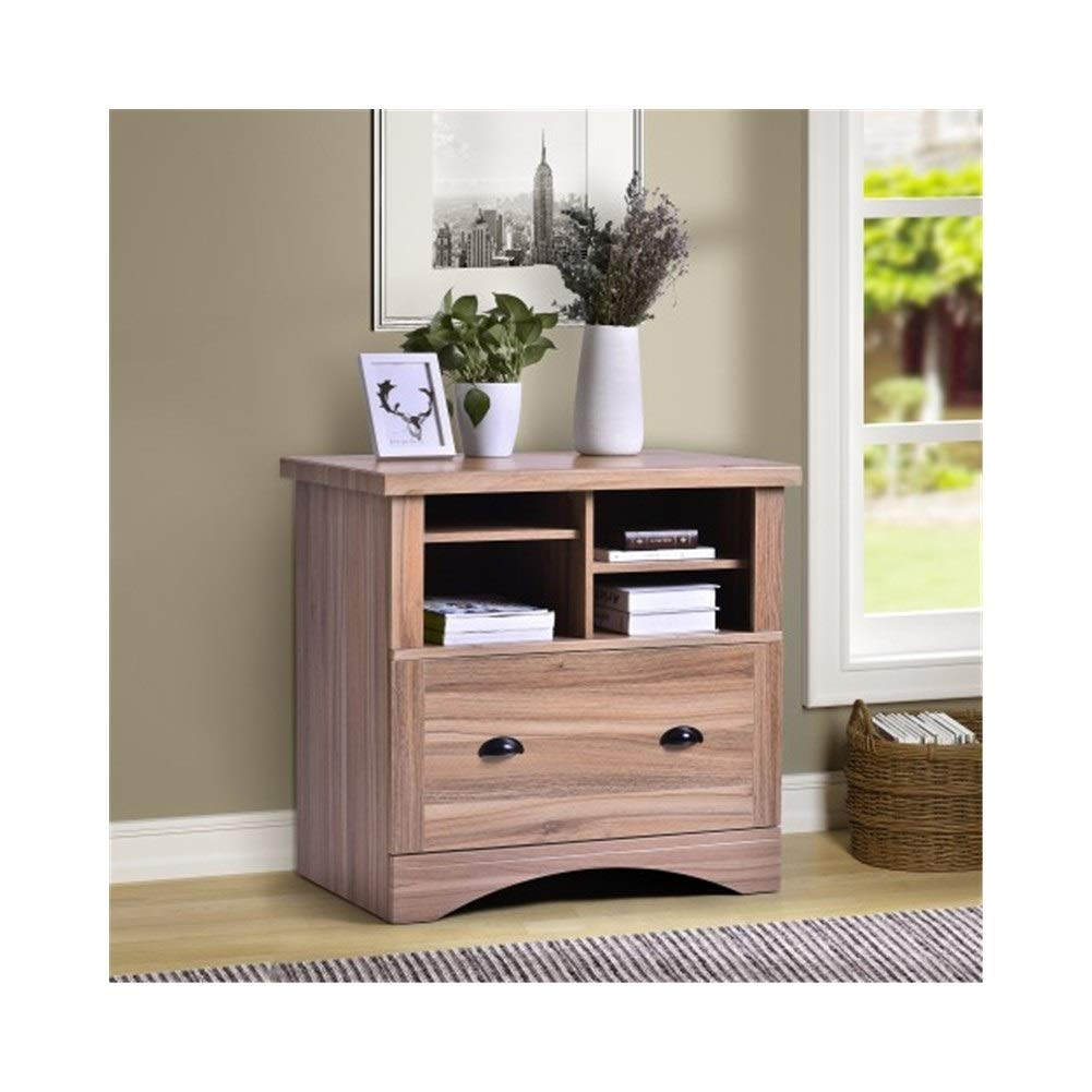 YXHUI ModernLuxe with Side File Cabinet with 3 Drawers and Open Storage Shelf (Black + White, 39.4'' L X 15.7'' Wide X 26.1'' High) Good Mood, Good Life