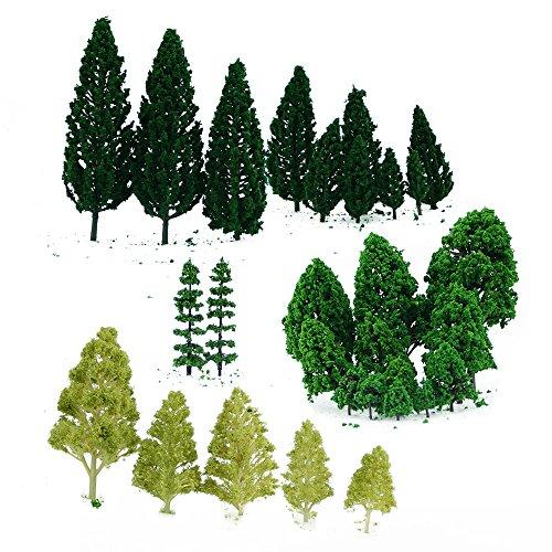 Zilong 28pcs Model Trees Miniature Trees Landscape Scenery Train Railways Architectural Scale Model Trees 1:50