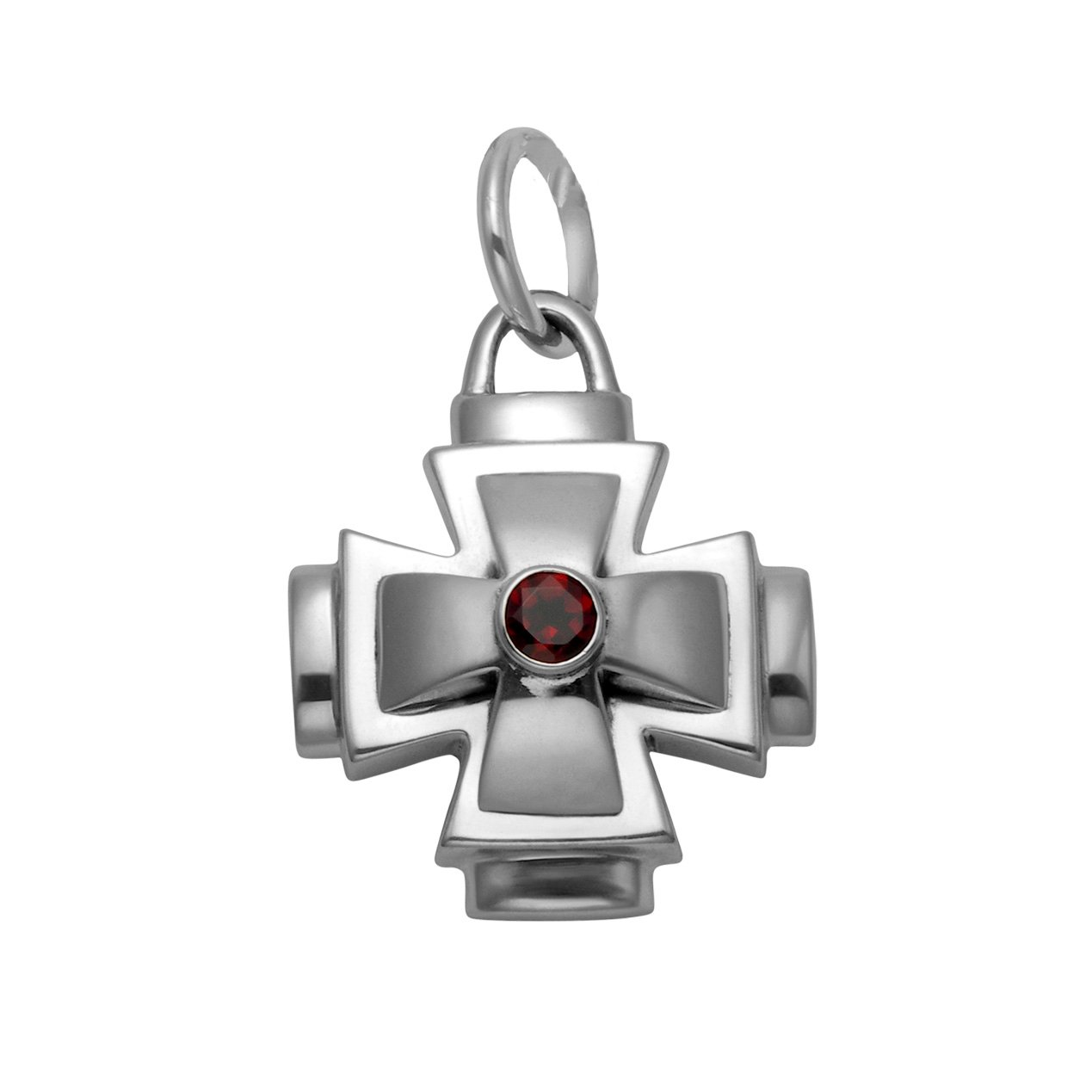 Large Sterling Silver Large Double Layer Cross Pendant with a Faceted Red Crystal