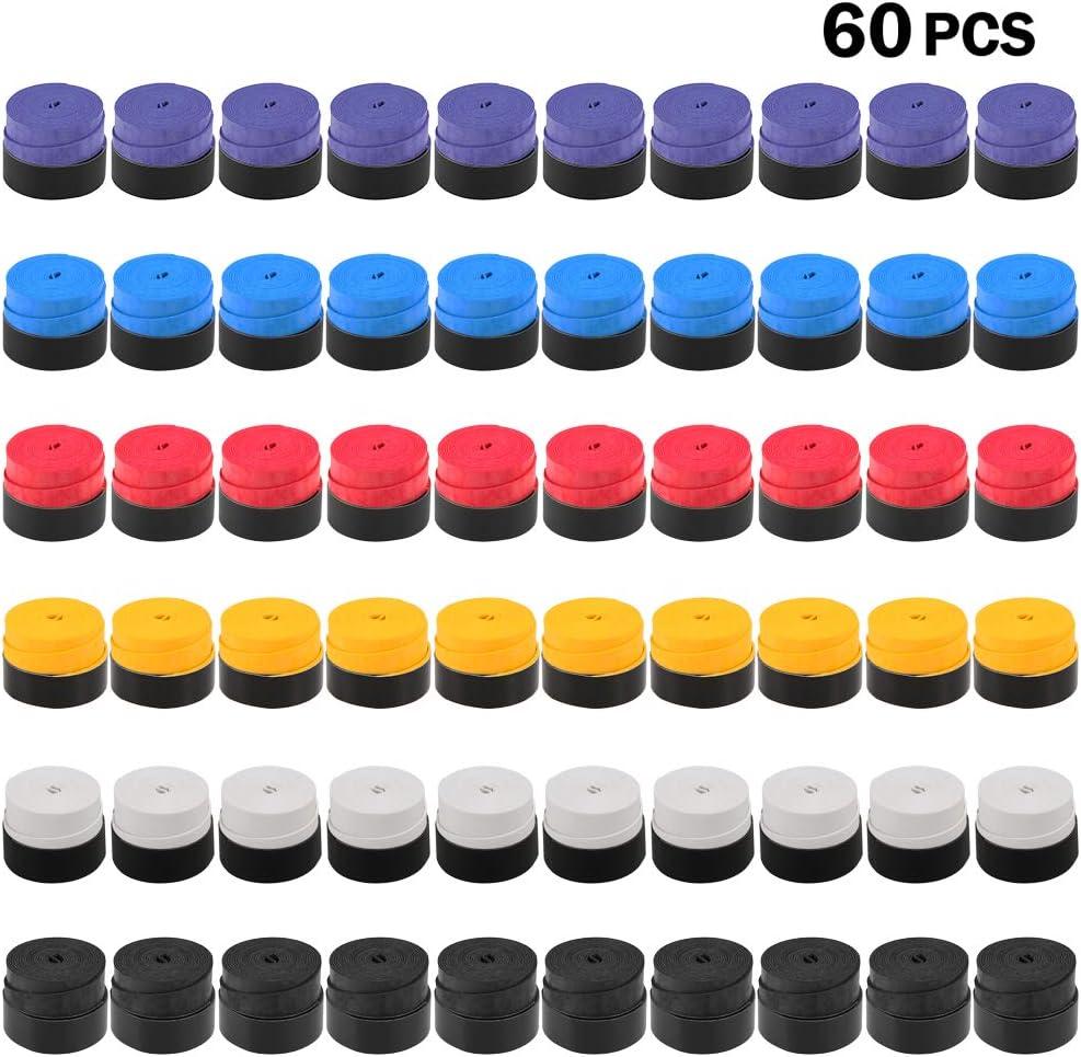 Lixada Un Conjunto de 60pcs Sobregrips/Overgrips de Empuñadura de Raqueta de Tenis o Raqueta de Bádminton, Antideslizante y Viscoso, Buen Absorción de Humedad y Buen Agarre