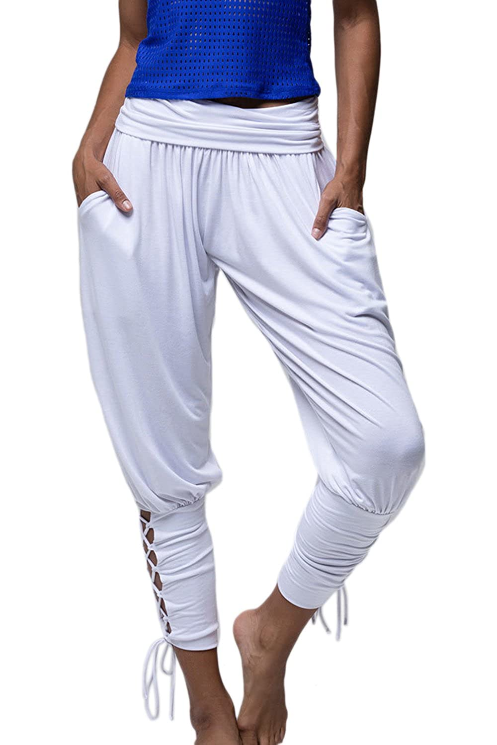 Womens Summer Harem Jogger Pants Bandage Casual Long Trousers CAFE260