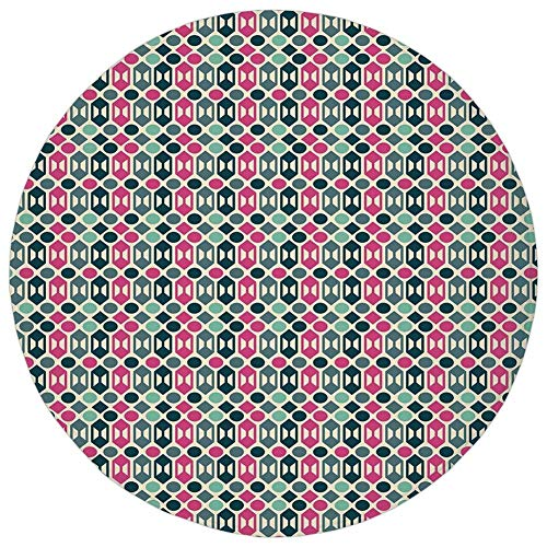 Round Rug Mat Carpet,Novelty,Retro 60s Home Decor Inspired Geometrical Shapes and Dots,Fern Green Hot Pink and Light Pink,Flannel Microfiber Non-Slip Soft Absorbent,for Kitchen Floor Bathroom -