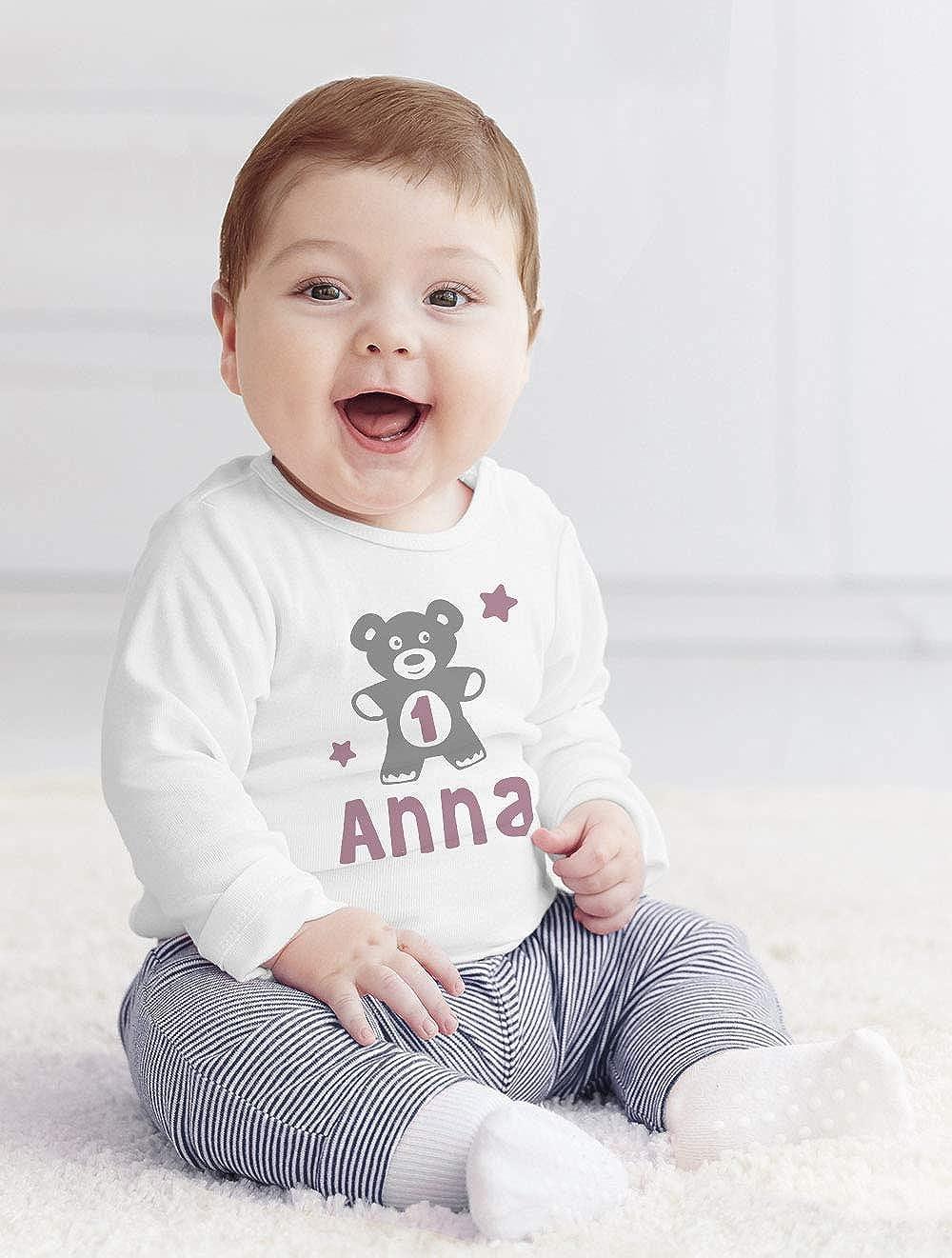 2 Geburtstagsshirt Junge//M/ädchen M/ädchen 1 Jahr wei/ß 92//98 SpecialMe/® personalisiertes Baby Langarm-Shirt mit Namen Teddy-B/är Zahl 1 16-24-Monate