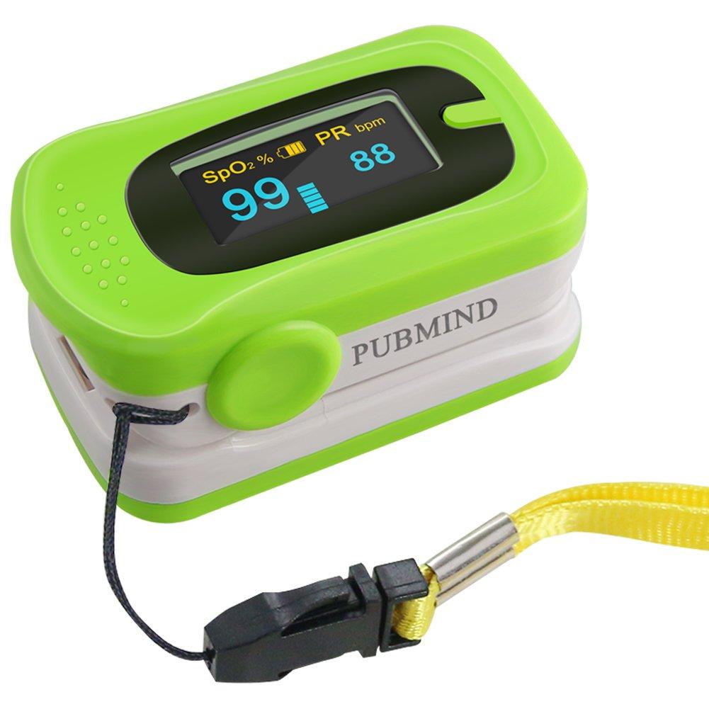 PUBMIND Pulse Oximeter Fingertip Oxygen Finger Monitor Blood Spo2 Saturation Levels Meter with Alarm and Plethysmograph