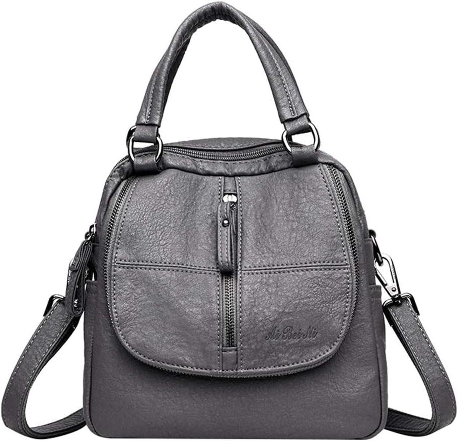 junkai Womens Multi-function backpack bag retro PU leather shoulders backpack multi-purpose small bag Handbag