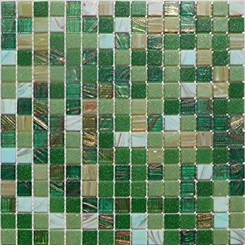 Mosaikfliesen grün  Mosaikfliesen-Grün Gold mix-Goldregen-Glasmosaik: Amazon.de: Baumarkt