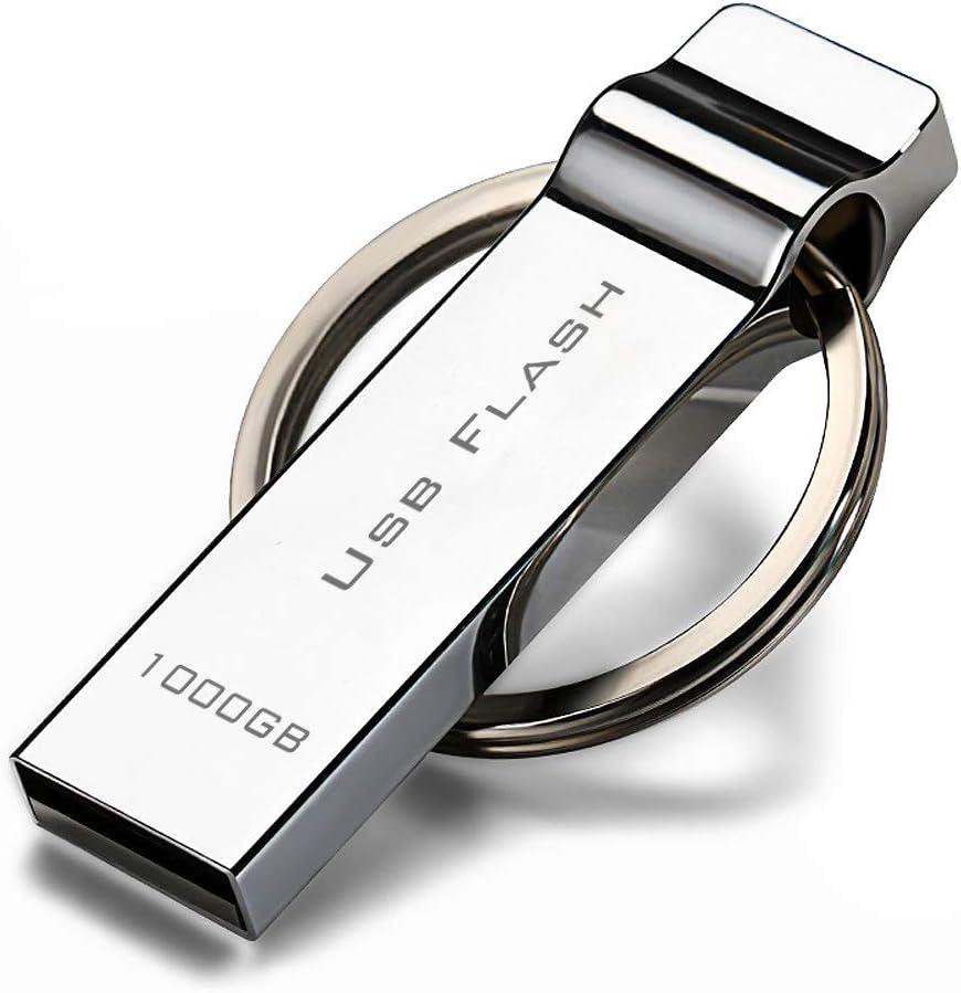 Silver Thumb Drive 1000GB USB Stick 1TB 1000GB USB 2.0 Flash Drive Metal Design with Keychain