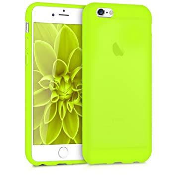 kwmobile Funda compatible con Apple iPhone 6 / 6S - Carcasa de TPU silicona - Protector trasero en amarillo neón