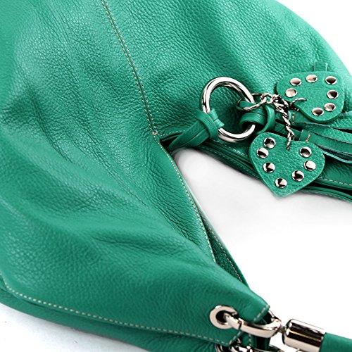 Bolso de Made cuero para hombro Italy mujer al Aquamarin SUTTgqx5