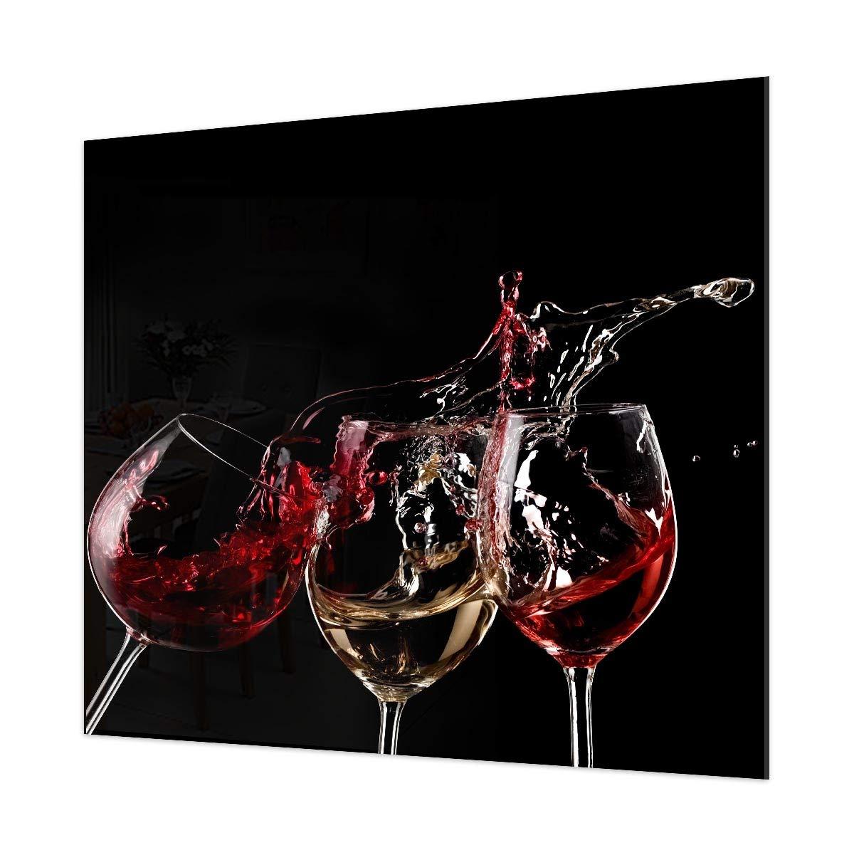 3 Wine Splash Printed Kitchen Glass Splashback (40 x 60cm - Mirror Screw Fixing) Colour 2 Glass Splashbacks