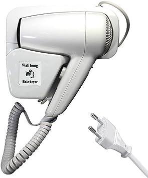 DOBO® Asciugacapelli Phon da parete muro albergo hotel bagno alberghi spogliatoio phon phono fono capelli hair style (1300W con presa di corrente)