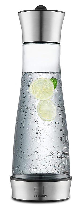 SILBERTHAL Jarra Agua Cristal con Tapa | Jarra Agua Nevera de Acero Inoxidable 1 litro | Jarra infusiones té y café | Cold Brew Coffee Maker