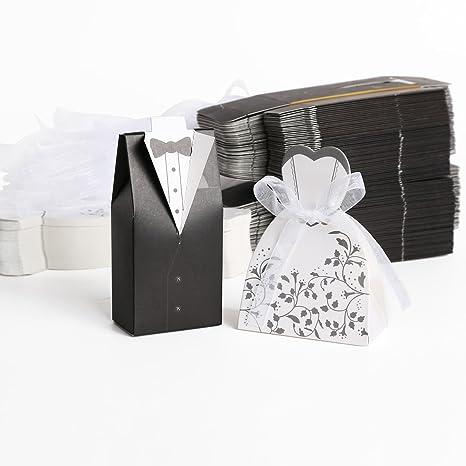 Sposo + 100pz. Sposa Carta di Bomboniera Per Confetti Caramelle Matrimonio  Nero Bianco 2dca2486169