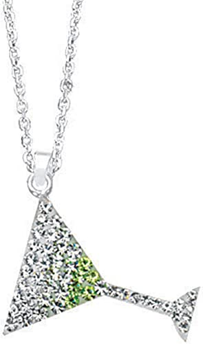 Crystal Martini Glass DiamondJewelryNY Silver Pendant