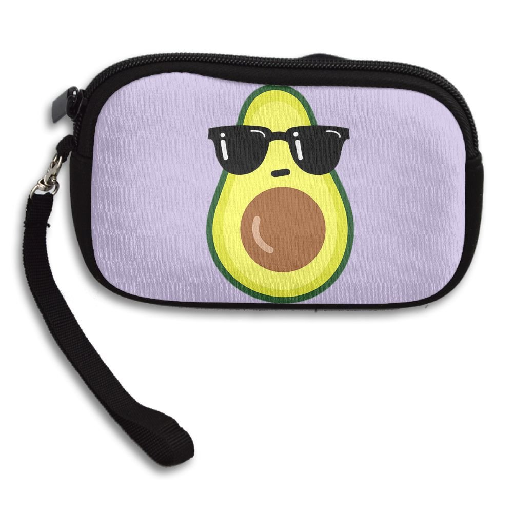 Cool Avocado With Glasses Comfortable Coin Purse Storage Package Wallet Zipper Mini Wallet