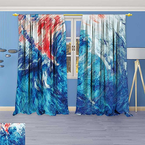 SOCOMIMI Twigs Fashion Design Print Thermal Insulated Blackout Curtain Blue sea Wave splashe Bright Paints Color Background for Wallpaper with Tops for Bedroom 84W x 84L inch