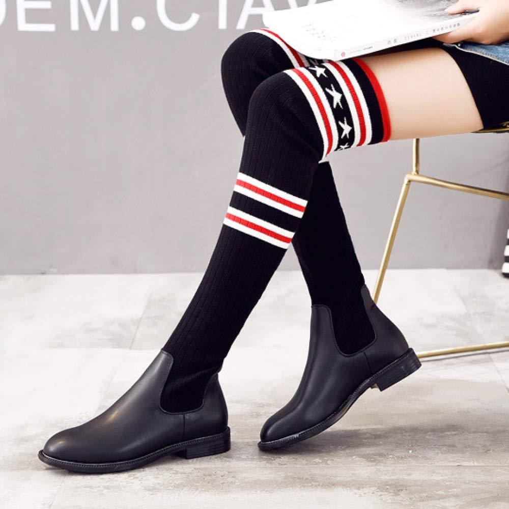 Damen Eben Star Streifenmuster Streifenmuster Star Mode Lange Overknee Breite Passform Stretch-Stiefel,schwarz-EU:35=5.5B(M) US - 5d2353