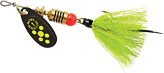 product image for Black Fury In-Line Spinner, 1/8 oz, Dressed Treble Hook, Chartreuse Dot Blade with Gray & Chartreuse Tail