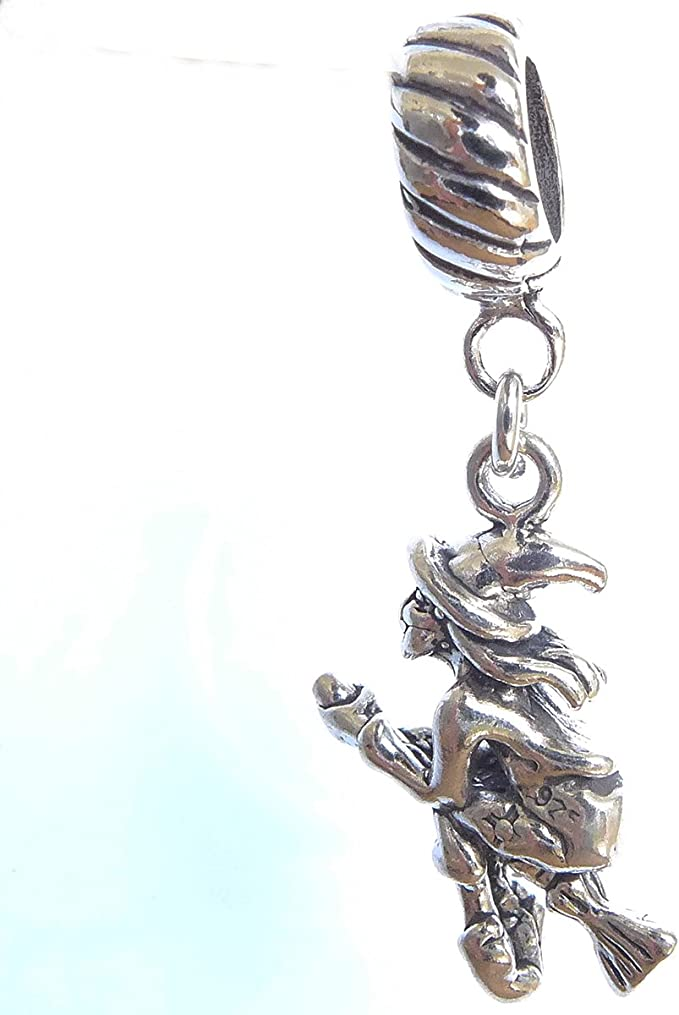 Sterling Silver 3D Halloween Flying Witch On Broom Dangle Charm Bead For Bead Charm Bracelet
