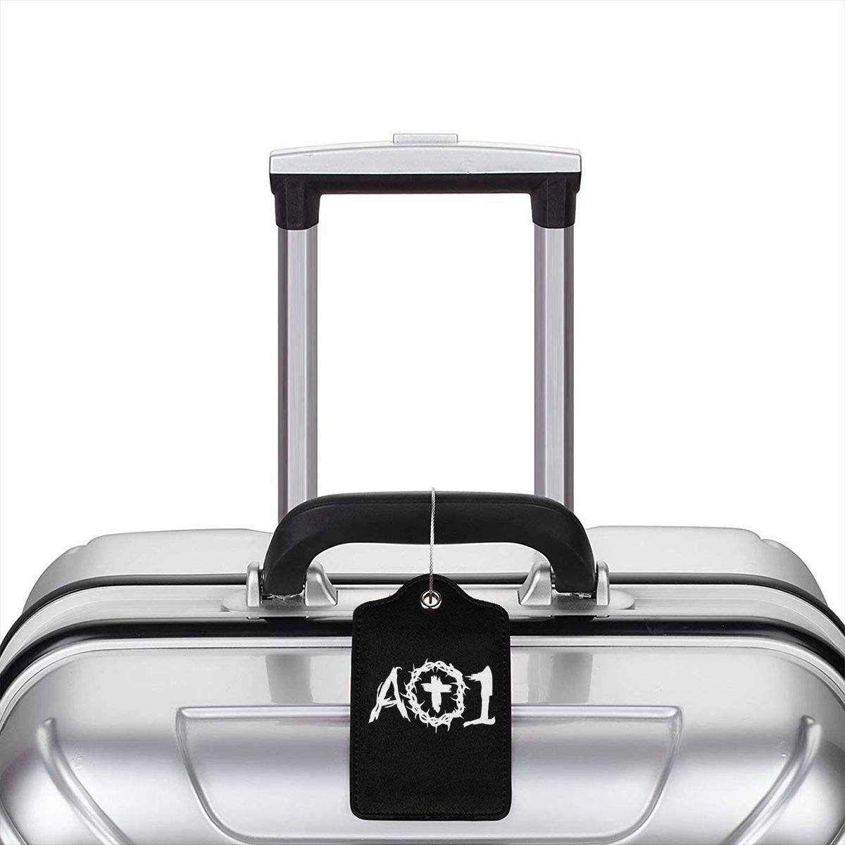 AO1 Logo Leather Luggage Tag Travel ID Label For Baggage Suitcase