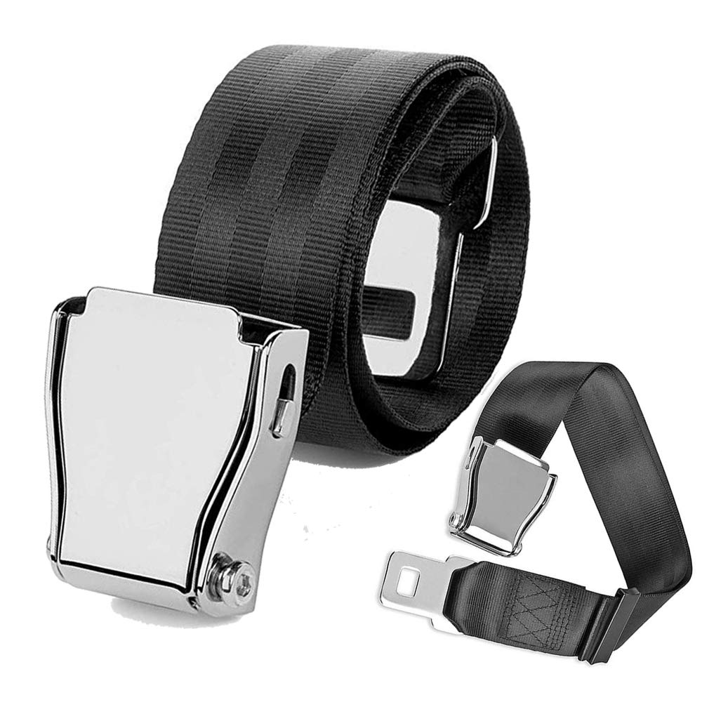 Adjustable Airplane Seat Belt E4 Safety Certified Extender Seatbelt Suitable for Most Airlines Except Southwest Airlines, Bring You a Comfortable Trip (Black) iPstyle