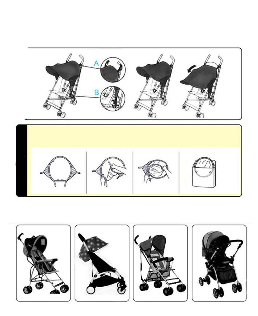 Black Universal Baby Sun and Sleep Stroller Cover Baby Stroller Sunshade Newborn Buggy Canopy Toddler Pushchair Infant Prams Sun Shade Ultraviolet-proof Cover blackout blind
