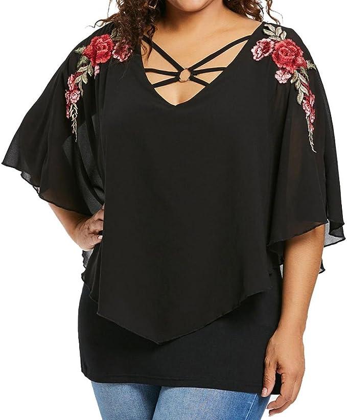Top Suelto Mujer, Covermason Camiseta Larga Estampada Floral ...