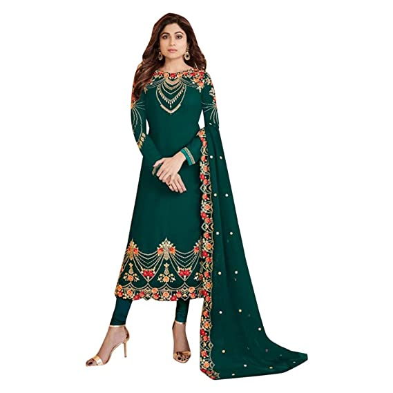 Green Nueva India Pakistani Straight Salwar Kamiz Kameez ...