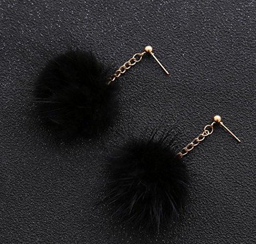 tempérament petite Lady mignonne oreille d'oreilles long boucles Black boule pendentif cheveux de stud pendentif xwF5Rgwq