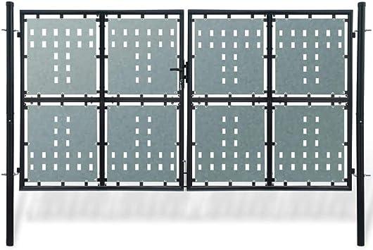 Verja Negra con dos Puertas de entrada,Puerta para su Jardín, Patio o Terraza, 300 x 250 cm: Amazon.es: Bricolaje y herramientas