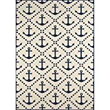 "D&H 3'11"" x5'7 Ivory Blue Navy Sea Anchor Coastal Printed Area Rug, Indoor Outdoor Trellis Coastal Pattern Living Room Rectangle Carpet, Graphic Art Themed, Vibrant Color Soft Synthetic Material For Sale"