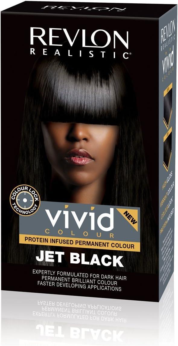 Revlon Realistic Vivid - Crema permanente para el cabello, color negro