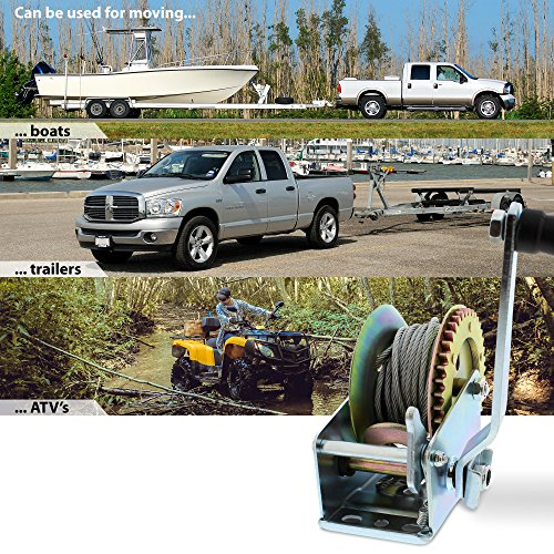 ABN Hand Winch Crank Gear Winch & Cable Heavy Duty, up to 1200lbs for Trailer, Boat or ATV by ABN (Image #3)