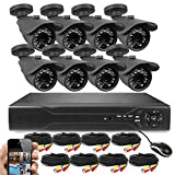 Best Vision 16-Channel D1 DVR Security System with 8 720P IR Outdoor Weatherproof Bullet Cameras, 1TB Hard Drive and Remote Surveillance