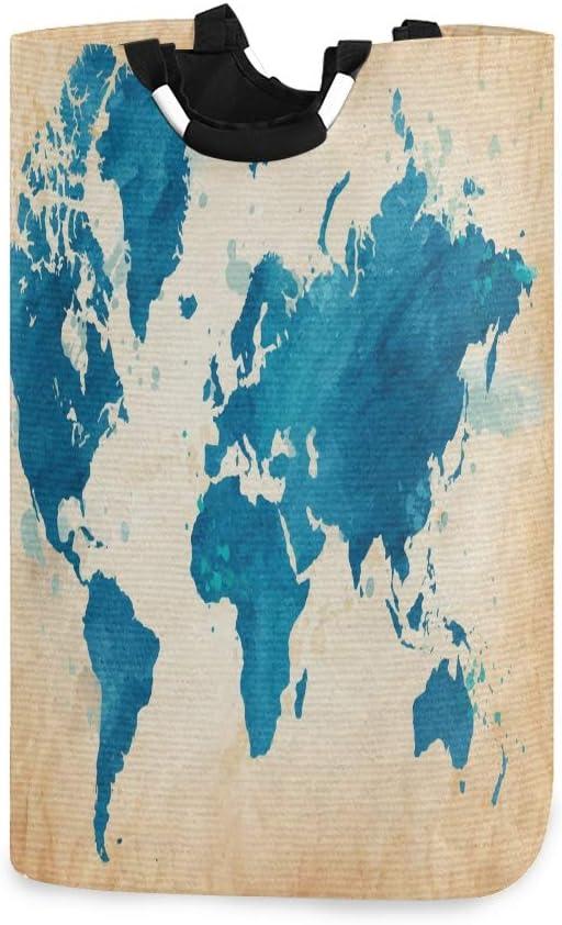 LIFE Cesta para la colada de viaje, mapa del mundo, plegable, con asas, organizador duradero y plegable, cesta para almacenamiento de ropa sucia, juguetes