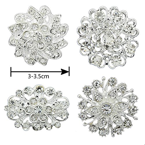 4pcs Silver Rhinestone Flower Pearl Wedding Brooches Pins - Pearl Set Pin