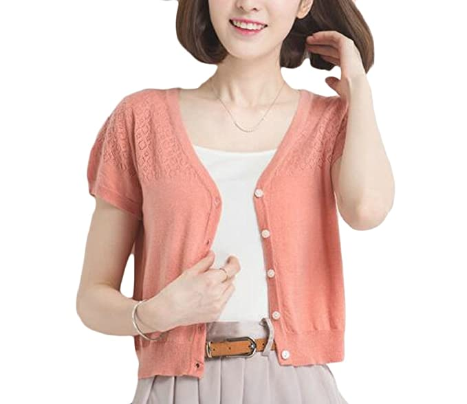 5b72c85bc3a3 M&S&W Womens Short Sleeve V Neck Button Down Cropped Cardigan Sweater ...