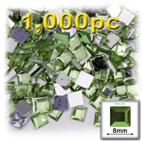 - The Crafts Outlet 1000-Piece Square Rhinestones, 8mm, Peridot Light Green